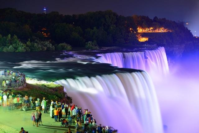 रात के समय नियाग्रा फॉल्स कनाडा का दृश्य- Niagara Falls At Night In Hindi